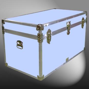 04-165 E WOOD WASH BLUE 38 Deep Storage Trunk with Alloy Trim