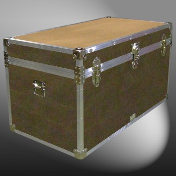 04-163 E WOOD WASH BROWN 38 Deep Storage Trunk with Alloy Trim