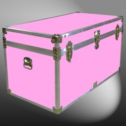 04-169 E WOOD WASH PINK 38 Deep Storage Trunk with Alloy Trim
