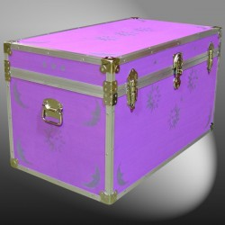 04-182 E PURPLE & STARS WOOD WASH 38 Deep Storage Trunk with Alloy Trim