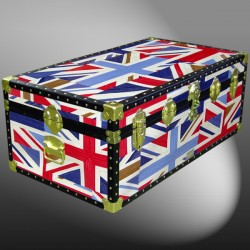 06-177 OCUJ OIL CLOTH UNION JACK 36 Cabin Storage Trunk with ABS Trim