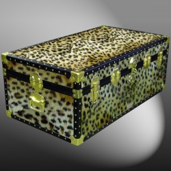 06-186 CH FAUX CHEETAH 36 Cabin Storage Trunk with ABS Trim