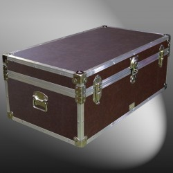 06-179 BLE BROWN LEATHERETTE 36 Cabin Storage Trunk with Alloy Trim
