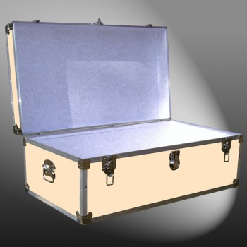 06-183 CLE CHAMPAGNE LEATHERETTE 36 Cabin Storage Trunk with Alloy Trim
