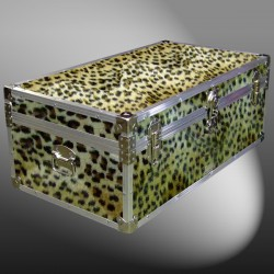 06-187 CHE FAUX CHEETAH 36 Cabin Storage Trunk with Alloy Trim