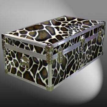 06-189 GE FAUX GIRAFFE 36 Cabin Storage Trunk with Alloy Trim