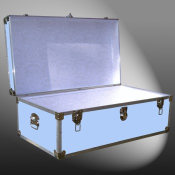 06-153 E WOOD WASH BLUE 36 Cabin Storage Trunk with Alloy Trim