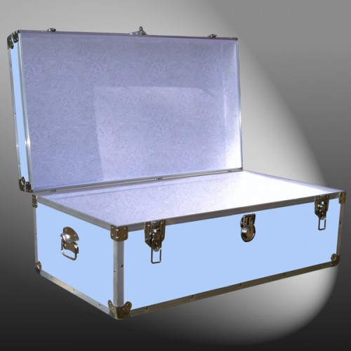 06 153 E WOOD WASH BLUE 36 Cabin Storage Trunk With Alloy Trim