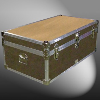 06-151 E WOOD WASH BROWN 36 Cabin Storage Trunk with Alloy Trim