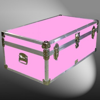 06-157 E WOOD WASH PINK 36 Cabin Storage Trunk with Alloy Trim