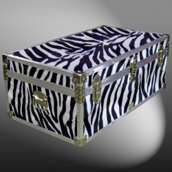 06-185 ZEBE FAUX ZEBRA 36 Cabin Storage Trunk with Alloy Trim