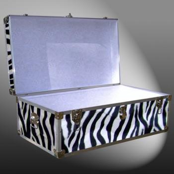 06-185 ZEBE FAUX ZEBRA 36 Cabin Storage Trunk with Alloy Trim