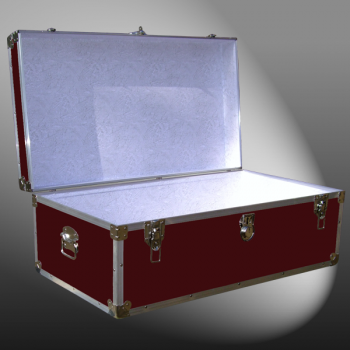06-092 RE MAROON 36 Cabin Storage Trunk with Alloy Trim