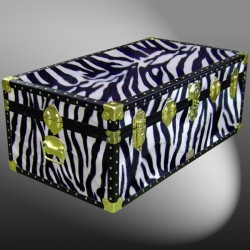 06-184 ZEB FAUX ZEBRA 36 Cabin Storage Trunk with ABS Trim