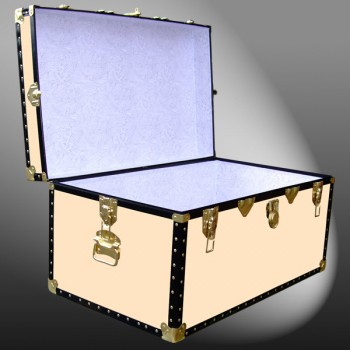 07-181 CL CHAMPAGNE LEATHERETTE 33 Deep Storage Trunk with ABS Trim