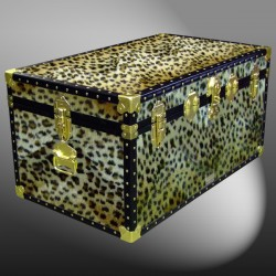 07-185 CH FAUX CHEETAH 33 Deep Storage Trunk with ABS Trim