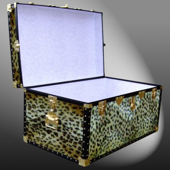 07-185 CH FAUX CHEETAH 33 Deep Storage Trunk with ABS Trim