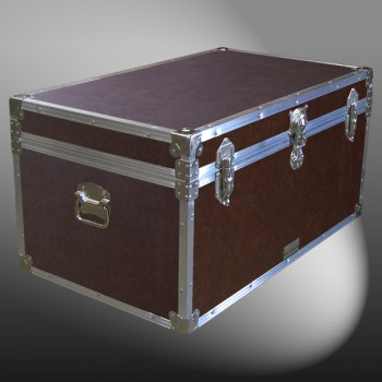 07-178 BLE BROWN LEATHERETTE 33 Deep Storage Trunk with Alloy Trim