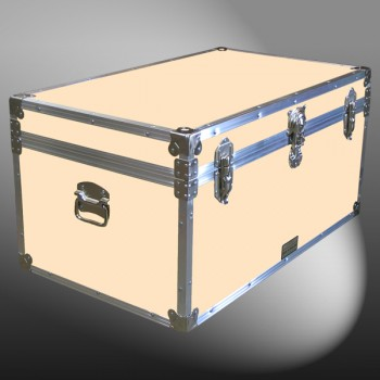 07-182 CLE CHAMPAGNE LEATHERETTE 33 Deep Storage Trunk with Alloy Trim