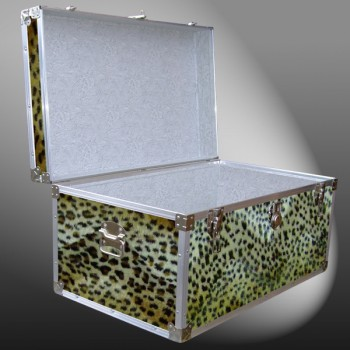 07-186 CHE FAUX CHEETAH 33 Deep Storage Trunk with Alloy Trim