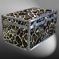 07-188 GE FAUX GIRAFFE 33 Deep Storage Trunk with Alloy Trim