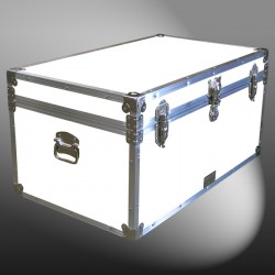 07-180 WLE WHITE LEATHERETTE 33 Deep Storage Trunk with Alloy Trim