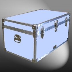 07-152 E WOOD WASH BLUE 33 Deep Storage Trunk with Alloy Trim