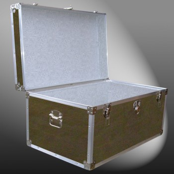 07-150 E WOOD WASH BROWN 33 Deep Storage Trunk with Alloy Trim