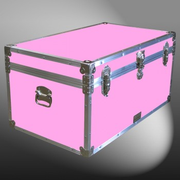 07-156 E WOOD WASH PINK 33 Deep Storage Trunk with Alloy Trim