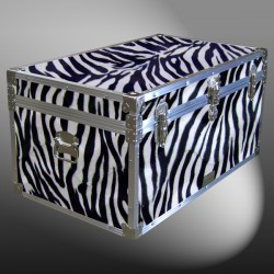 07-184 ZEBE FAUX ZEBRA 33 Deep Storage Trunk with Alloy Trim