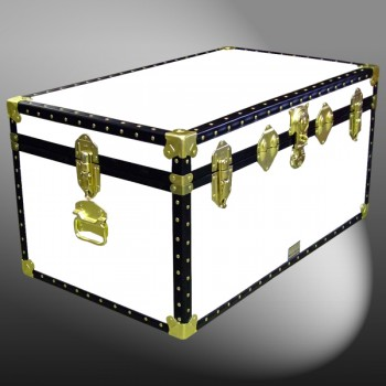 07-179 WL WHITE LEATHERETTE 33 Deep Storage Trunk with ABS Trim