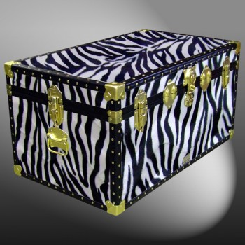 07-183 ZEB FAUX ZEBRA 33 Deep Storage Trunk with ABS Trim