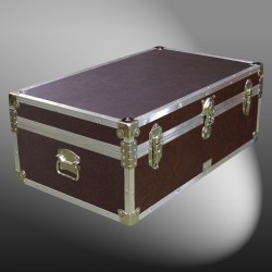 09-172 BLE BROWN LEATHERETTE 30 Cabin Storage Trunk with Alloy Trim