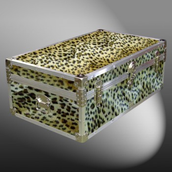 08-182 CHE FAUX CHEETAH 33 Cabin Storage Trunk with Alloy Trim