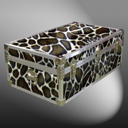 08-184 GE FAUX GIRAFFE 33 Cabin Storage Trunk with Alloy Trim
