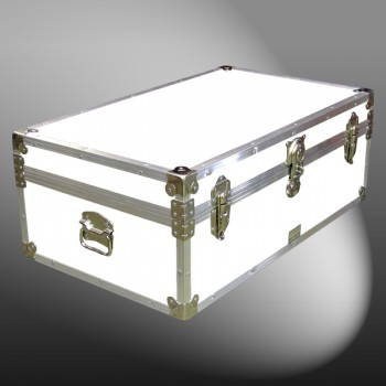 08-176 WLE WHITE LEATHERETTE 33 Cabin Storage Trunk with Alloy Trim