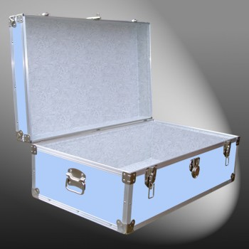 08-150 E WOOD WASH BLUE 33 Cabin Storage Trunk with Alloy Trim