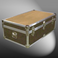 09-146 E WOOD WASH BROWN 30 Cabin Storage Trunk with Alloy Trim