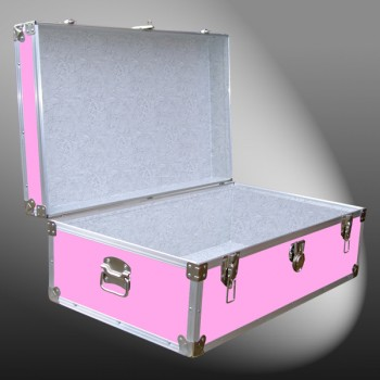 08-154 E WOOD WASH PINK 33 Cabin Storage Trunk with Alloy Trim