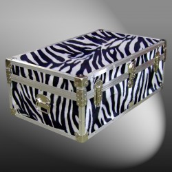 09-178 ZEBE FAUX ZEBRA 30 Cabin Storage Trunk with Alloy Trim