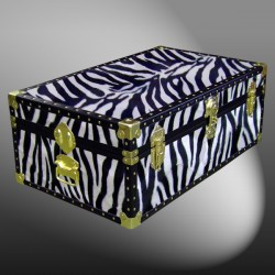 09-177 ZEB FAUX ZEBRA 30 Cabin Storage Trunk with ABS Trim